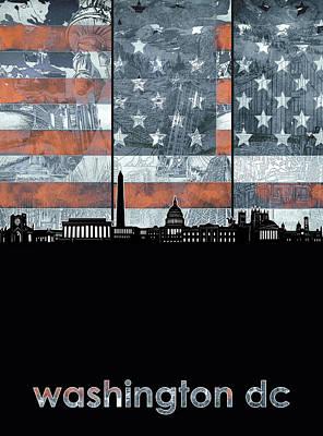 Digital Art - Washington Dc Skyline Usa Flag by Bekim Art