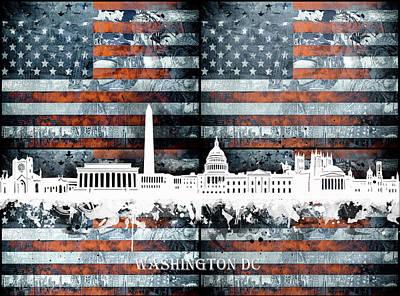 Digital Art - Washington Dc Skyline Usa Flag2 by Bekim Art