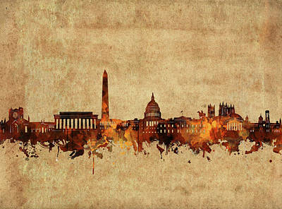 Abstract Skyline Royalty-Free and Rights-Managed Images - Washington Dc Skyline Vintage 2 by Bekim Art