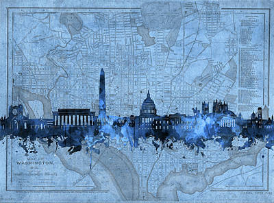 Photograph - Washington Dc Skyline Vintage Blue by Bekim Art