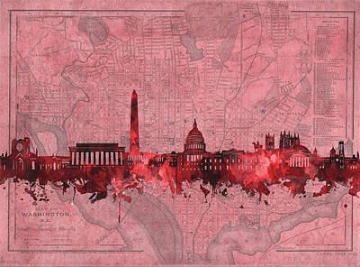 Digital Art - Washington Dc Skyline Vintage Red by Bekim Art