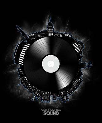 Digital Art - Washington Dc Skyline Vinyl 10 by Bekim Art