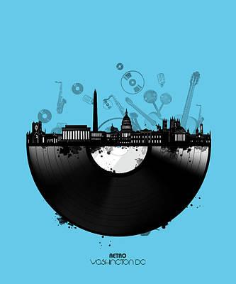 Digital Art - Washington Dc Skyline Vinyl 2 by Bekim Art