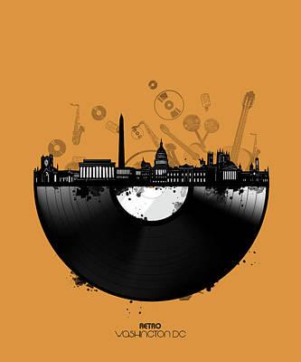 Digital Art - Washington Dc Skyline Vinyl 3 by Bekim Art
