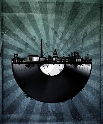 Digital Art - Washington Dc Skyline Vinyl 5 by Bekim Art