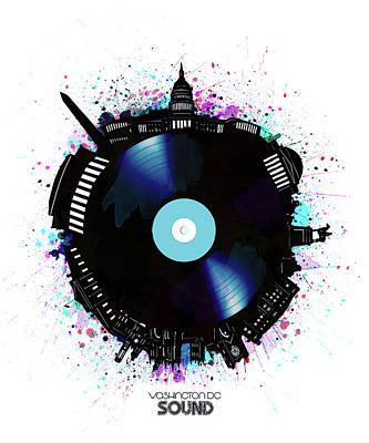 Digital Art - Washington Dc Skyline Vinyl 6 by Bekim Art