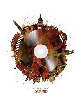 Digital Art - Washington Dc Skyline Vinyl 7 by Bekim Art