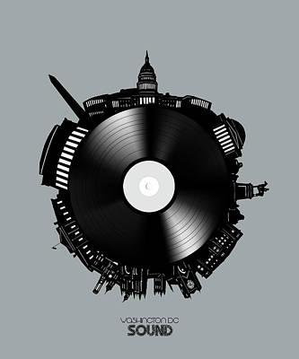 Digital Art - Washington Dc Skyline Vinyl 8 by Bekim Art