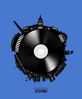 Digital Art - Washington Dc Skyline Vinyl 9 by Bekim Art