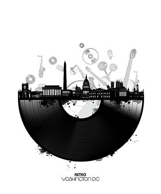 Digital Art - Washington Dc Skyline Vinyl by Bekim Art