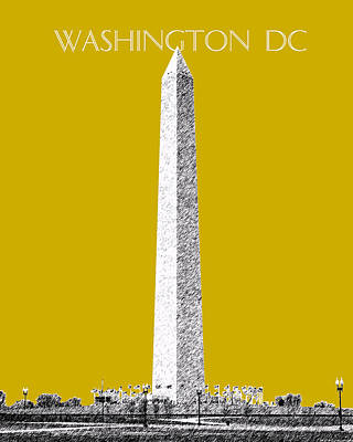 Pen Digital Art - Washington Dc Skyline Washington Monument - Gold by DB Artist
