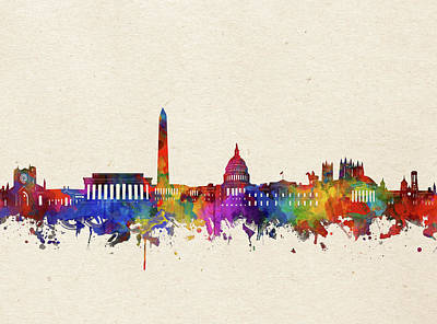 Abstract Skyline Royalty-Free and Rights-Managed Images - Washington Dc Skyline Watercolor 2 by Bekim Art