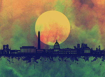 Abstract Skyline Royalty-Free and Rights-Managed Images - Washington Dc Skyline Watercolor 5 by Bekim Art
