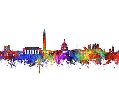 Abstract Skyline Royalty-Free and Rights-Managed Images - Washington Dc Skyline Watercolor by Bekim Art