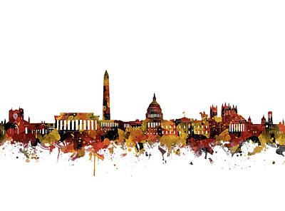 Abstract Skyline Royalty-Free and Rights-Managed Images - Washington Dc Skyline Watercolor Orange by Bekim Art