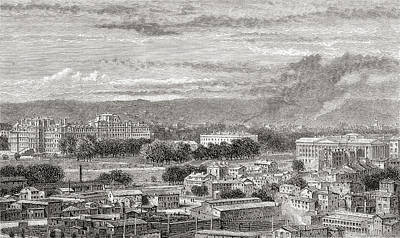 Us Capital Drawing - Washington, D.c., United States Of by Vintage Design Pics