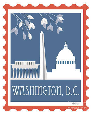 Washington D.c. Vertical Scene - Stamp Art Print