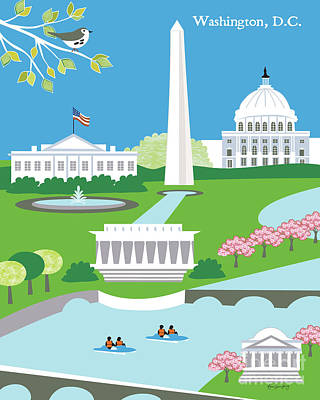 Cherry Blossoms Digital Art - Washington, D.c. Vertical Skyline by Karen Young