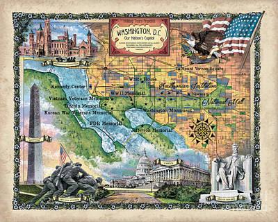 Painting - Washington Dc Map, Map Washington Dc, Map Of Washington Dc, Washington Dc Poster, Washington Dc Gift by Lisa Middleton