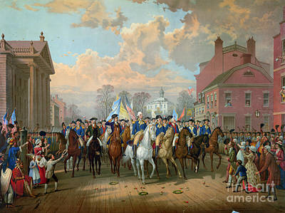 Continental Army Drawing - Washington Entering New York City 1783 by Granger