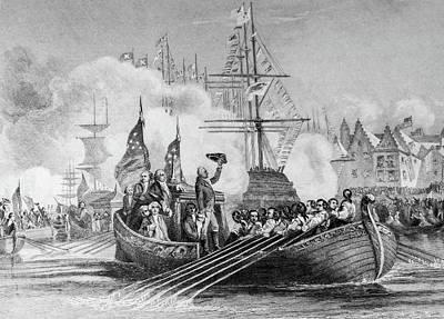 Harbor Drawing - Washington Entering The Harbor by Douglas Barnett
