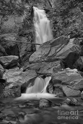 Photograph - Washington Falls Creek Falls Black And White by Adam Jewell