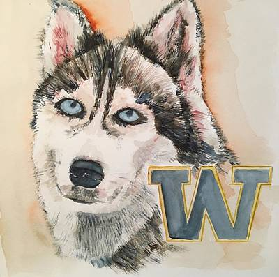 Painting - Washington Huskies by Elaine Duras