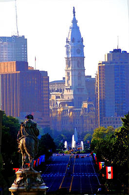 Benjamin Franklin Parkway Digital Art - Washington Looking Over To City Hall by Bill Cannon