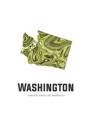Mixed Media - Washington Map Art Abstract In Olive by Studio Grafiikka