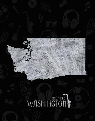 Digital Art - Washington Map Music Notes 2 by Bekim Art
