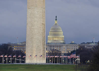 Washington Monument Photograph - Washington Monument And United States Capitol Buildings - Washington Dc by Brendan Reals