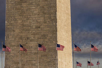 Photograph - Washington Monument And Usa Flags by Susan Candelario