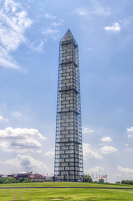 Washington Monument Digital Art - Washington Monument In Scaffolding  by Bill Cannon