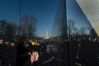 Vietnam Veterans Memorial Wall Photograph - Washington Monument Reflected by Todd Gipstein