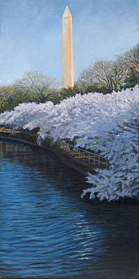 Tidal Basin Painting - Washington Monument by Suzanne Shelden