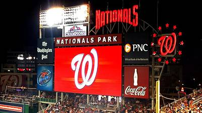 Photograph - Washington Nationals Scoreboard by Kenny Glover