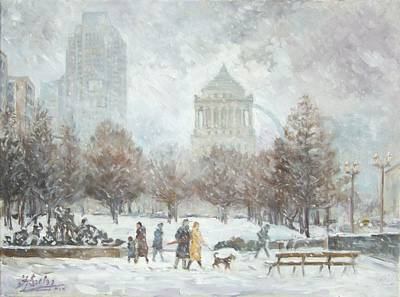 Washington Park In St.louis Winter Art Print