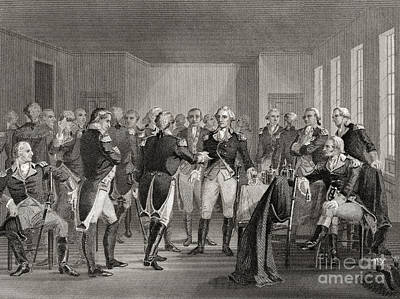 Statesmen Drawing - Washington Parting From His Officers At Fraunces Tavern, New York City, Usa, On December 4th 1783 by American School