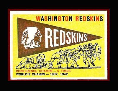 Washington Redskins 1959 Pennant Card Art Print by Paul Van Scott