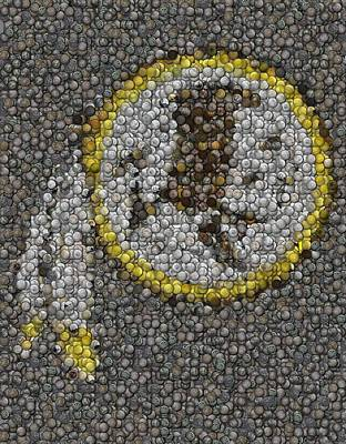 Art Print featuring the mixed media Washington Redskins Coins Mosaic by Paul Van Scott