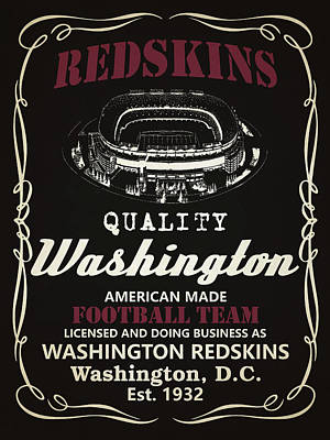 Football Mixed Media - Washington Redskins Whiskey by Joe Hamilton