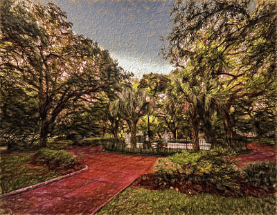 Digital Art - Washington Square In Mobile Alabama Painted by Michael Thomas