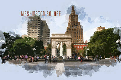 Park Scene Painting - Washington Square Park Greenwich Village With Text Washington Square by Elaine Plesser