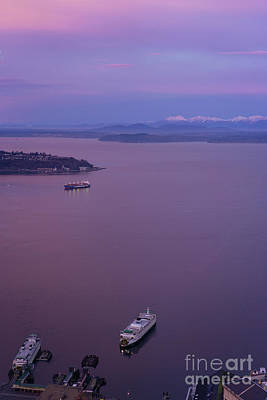 Skylines Royalty-Free and Rights-Managed Images - Washington State Ferry Sunrise Light by Mike Reid