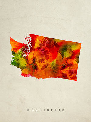 Vintage Map Painting - Washington State Map 04 by Aged Pixel