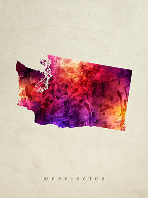 Vintage Map Painting - Washington State Map 05 by Aged Pixel