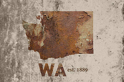 Spokane Mixed Media - Washington State Map Industrial Rusted Metal On Cement Wall With Founding Date Series 042 by Design Turnpike