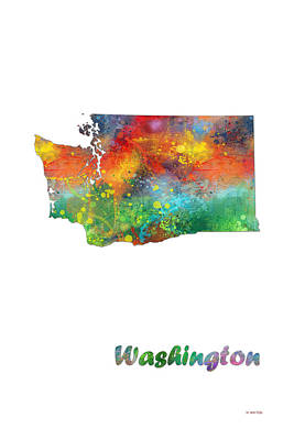 Wa Digital Art - Washington State Map by Marlene Watson