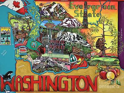 Painting - Washington State Map by Patti Schermerhorn