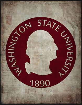 Cougar Digital Art - Washington State University Seal Grunge by Daniel Hagerman